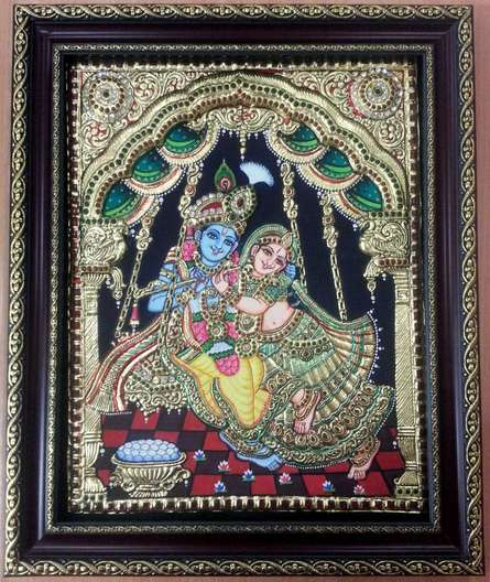 Traditional Indian art title Swing Radhakrishna Tanjore Painting on Plywood - Tanjore Paintings