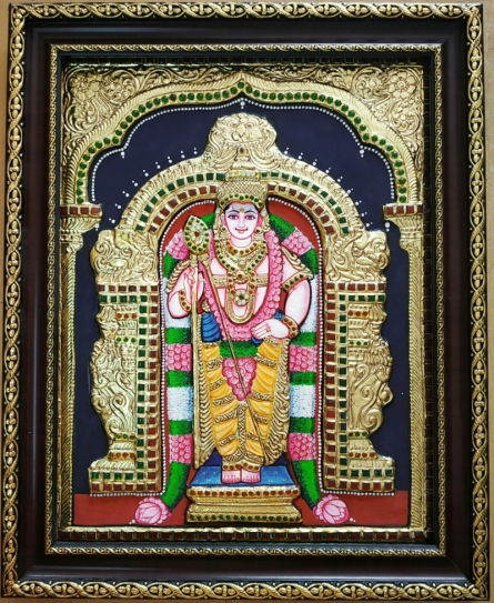 Traditional Indian art title Subramanya Tanjore Painting on Plywood - Tanjore Paintings