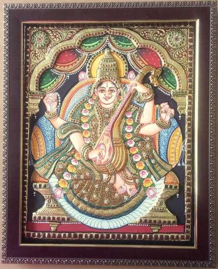 art,painting,folk,tanjore,traditional,indian,goddess,saraswati