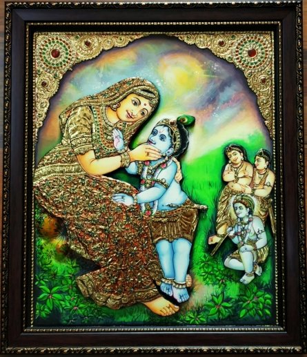 Traditional Indian art title Yashodha Krishna Tanjore Painting 2 on Plywood - Tanjore Paintings
