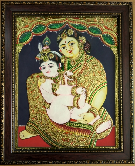 Traditional Indian art title Yashodha krishna Tanjore Painting 3 on Plywood - Tanjore Paintings