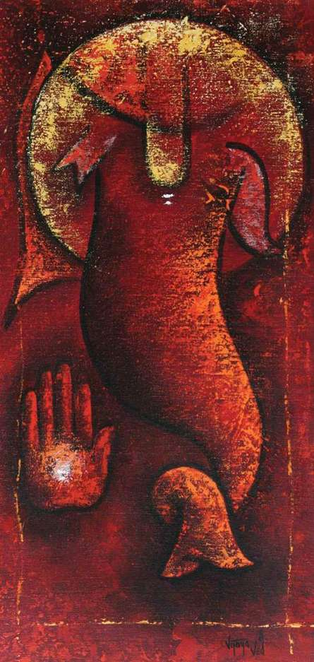 Figurative Oil Art Painting title 'Ganesha II' by artist Vijaya Ved