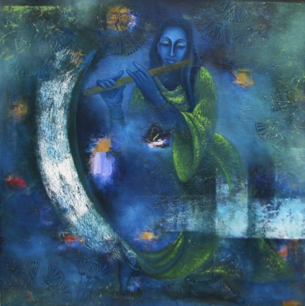 Figurative Oil Art Painting title 'Mystic World' by artist Vijaya Ved