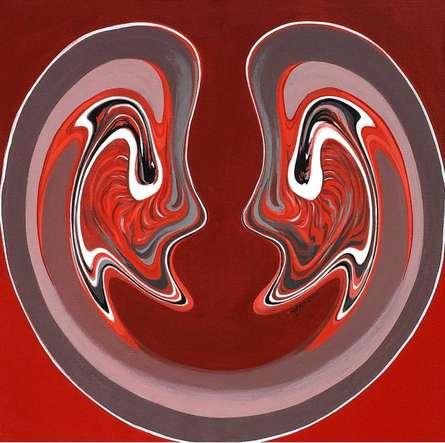 Abstract Acrylic Art Painting title 'Saumya Samvad' by artist Atul Padia