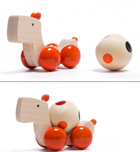 Oodees Toys | Duffer Pull Along Wooden Toy Craft Craft by artist Oodees Toys | Indian Handicraft | ArtZolo.com
