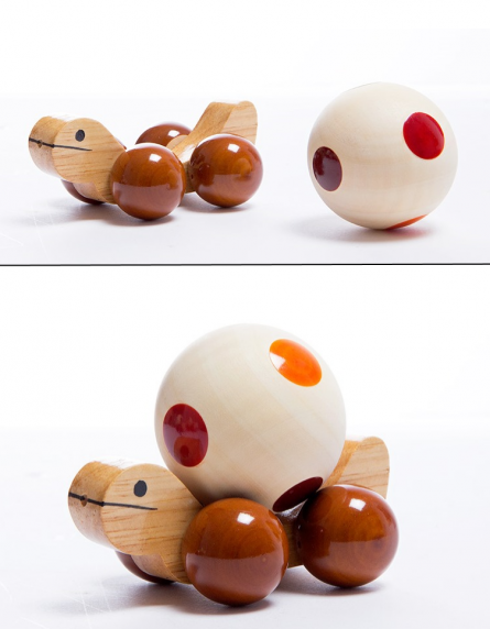 Jolly Turtle Brown Wooden Toy | Craft by artist Oodees Toys | wood