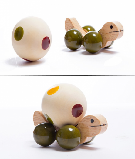 Oodees Toys | Jolly Turtle Green Wooden Toy Craft Craft by artist Oodees Toys | Indian Handicraft | ArtZolo.com