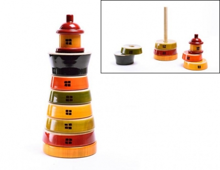 Oodees Toys | Light House Stacking Wooden Toy Craft Craft by artist Oodees Toys | Indian Handicraft | ArtZolo.com