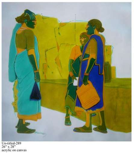Figurative Acrylic Art Painting title Gossiping Women I by artist Tailor Srinivas