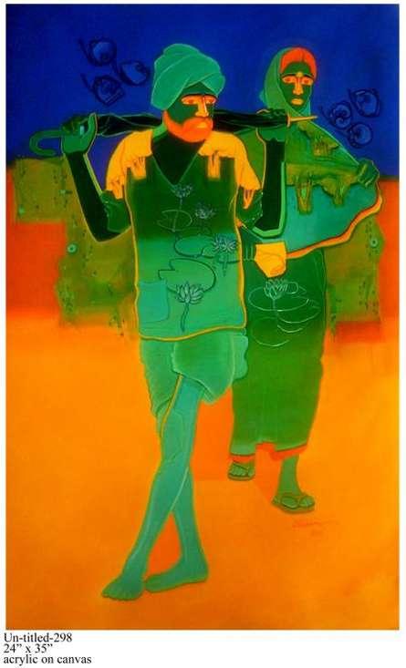 Figurative Acrylic Art Painting title Rural Couple II by artist Tailor Srinivas