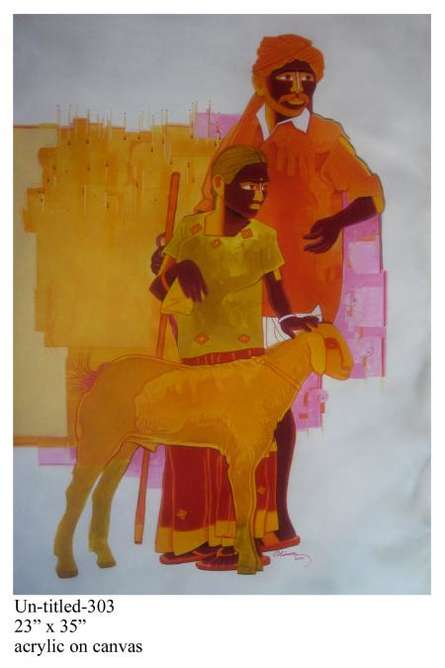 Figurative Acrylic Art Painting title Man And Daughter by artist Tailor Srinivas