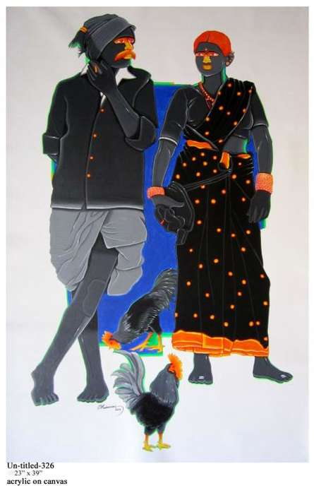 Figurative Acrylic Art Painting title 'Rural Couple I' by artist Tailor Srinivas