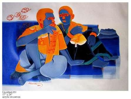 Deep Talk | Painting by artist Tailor Srinivas | acrylic | Canvas