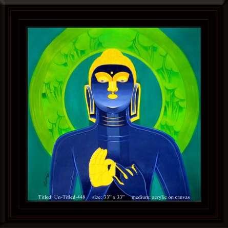 Religious Acrylic Art Painting title 'Buddha ' by artist Tailor Srinivas