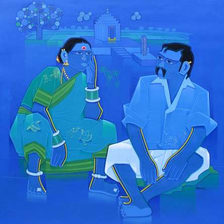 Figurative Acrylic Art Painting title 'Overhear' by artist Tailor Srinivas