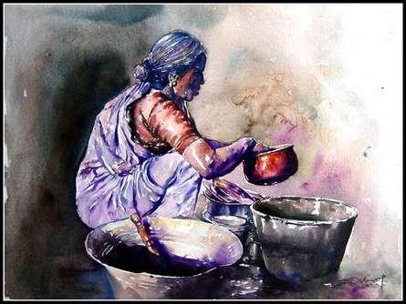 Pots/Vessels Watercolor Art Painting title 'Dishwasher Women' by artist SRV ARTIST