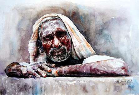 Figurative Watercolor Art Painting title 'Expectation' by artist SRV ARTIST