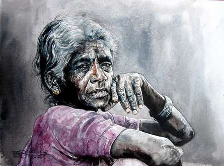 Figurative Watercolor Art Painting title 'Expectation 2' by artist SRV ARTIST