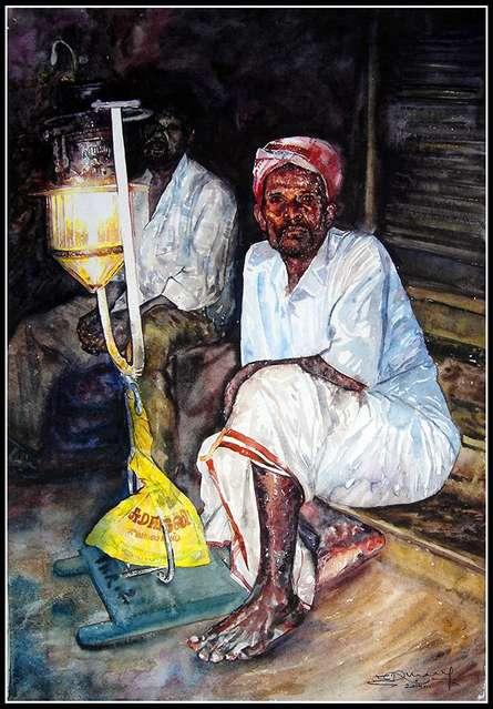 SRV ARTIST | Watercolor Painting title Festival Light With Man on Handmade Paper | Artist SRV ARTIST Gallery | ArtZolo.com