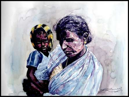 Figurative Watercolor Art Painting title 'Grand Mother Love 2' by artist SRV ARTIST