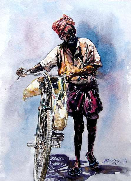 Scycle With Man | Painting by artist SRV ARTIST | watercolor | Handmade Paper