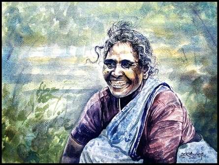 Figurative Watercolor Art Painting title 'Seller Women' by artist SRV ARTIST