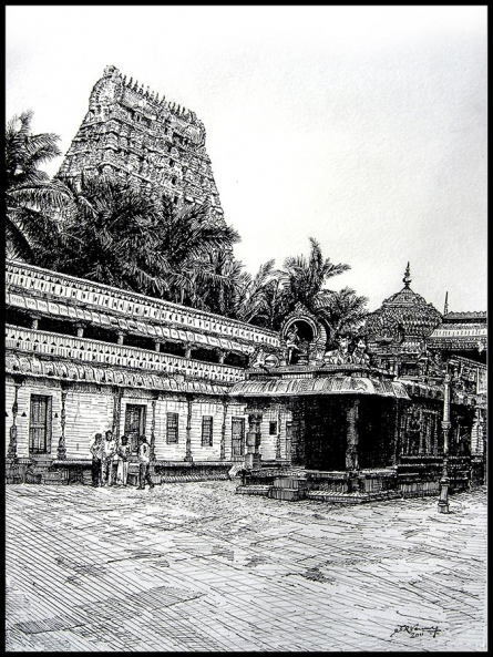 Shiva Temple View | Painting by artist SRV ARTIST | other | Canson Paper