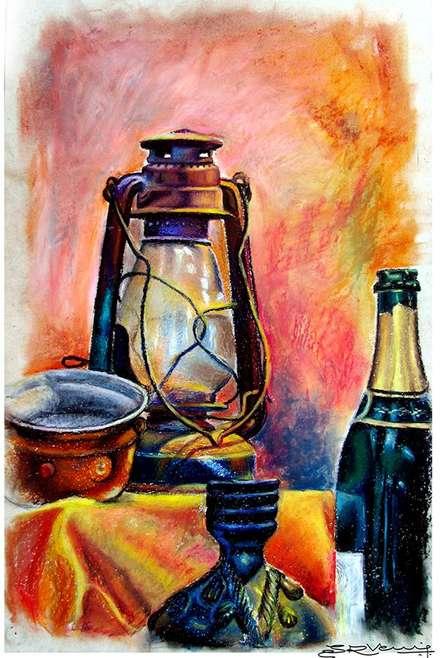 Still Life Oil Pastel   Painting by artist SRV ARTIST   oil-pastel   Box Board