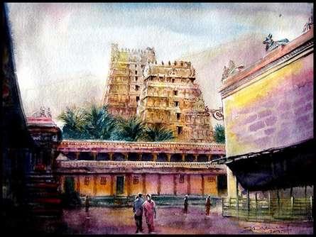 Cityscape Watercolor Art Painting title 'Temple 1' by artist SRV ARTIST