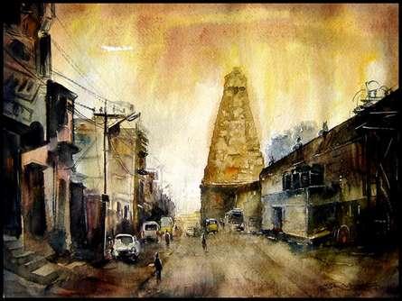 Cityscape Watercolor Art Painting title 'Temple 2' by artist SRV ARTIST