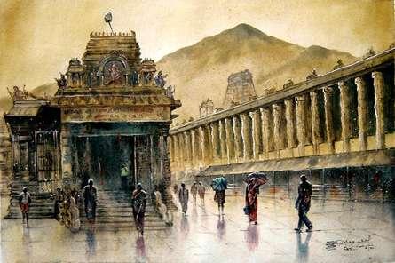 Cityscape Watercolor Art Painting title 'Temple Rainey' by artist SRV ARTIST