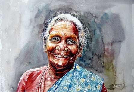 Figurative Watercolor Art Painting title 'Un Bounded Smile Of Joy' by artist SRV ARTIST