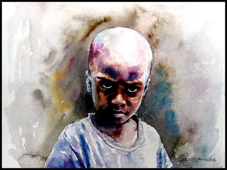 SRV ARTIST | Watercolor Painting title Village Children 1 on Handmade Paper | Artist SRV ARTIST Gallery | ArtZolo.com