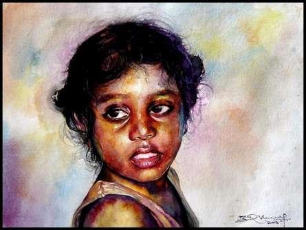 Figurative Watercolor Art Painting title Village Children 3 by artist SRV ARTIST
