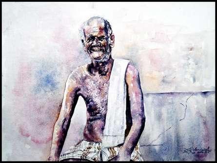 Figurative Watercolor Art Painting title 'Village Farmer' by artist SRV ARTIST