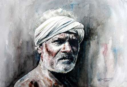 Figurative Watercolor Art Painting title 'Village Farmer 3' by artist SRV ARTIST