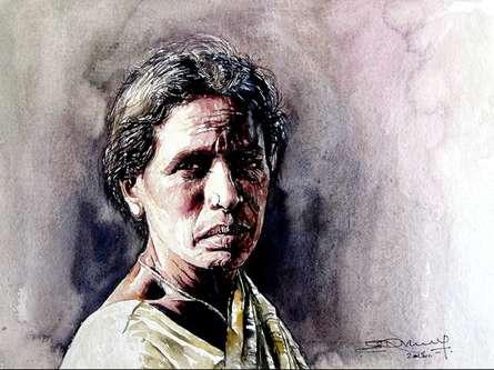 Village Women 2 | Painting by artist SRV ARTIST | watercolor | Handmade Paper