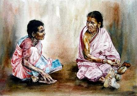 SRV ARTIST | Watercolor Painting title Village Womens on Handmade Paper | Artist SRV ARTIST Gallery | ArtZolo.com