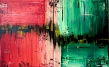 """Abstract """"Pulsation of Thoughts""""   Painting by artist Parineeta   acrylic   Canvas Board"""