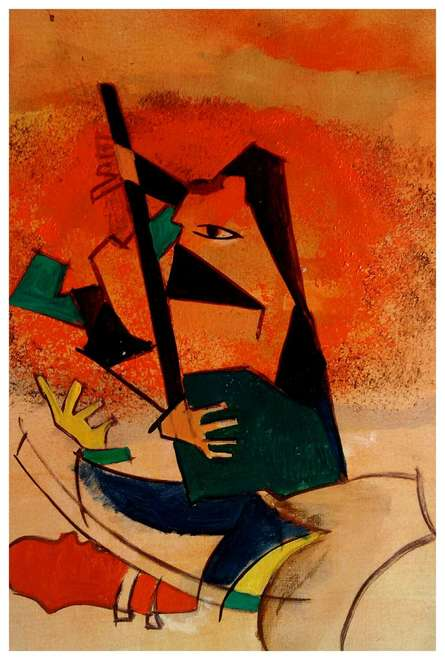 Indian music | Painting by artist Chaitan Bhosale | acrylic | 1 by 2