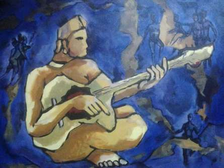 Music Acrylic Art Painting title Gittar player by artist Chaitan Bhosale