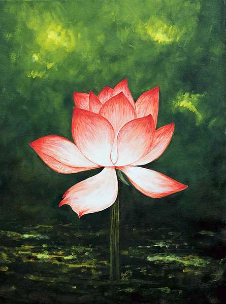 Seby Augustine | Acrylic Painting title Lotus on Canvas | Artist Seby Augustine Gallery | ArtZolo.com