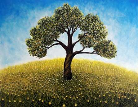 Seby Augustine Paintings | Acrylic Painting - The Lonely Tree by artist Seby Augustine | ArtZolo.com