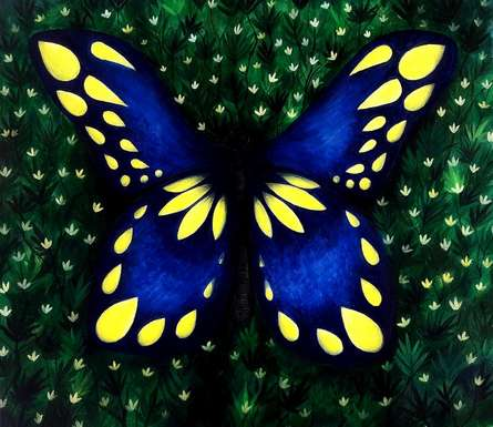 Butterfly | Painting by artist Seby Augustine | acrylic | Canvas