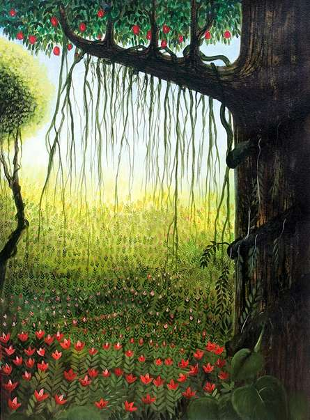 Surrealist Acrylic Art Painting title 'Garden View' by artist Seby Augustine