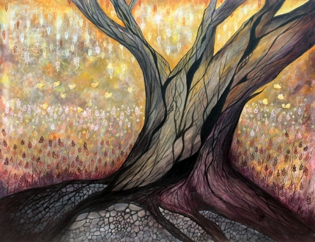 Surrealist Acrylic Art Painting title The Tree by artist Seby Augustine