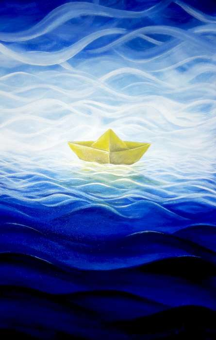 The Paper Boat | Painting by artist Seby Augustine | acrylic | Canvas