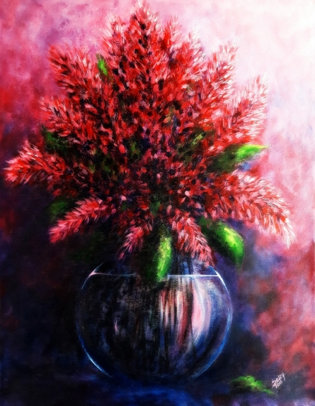 The Red Flowers | Painting by artist Seby Augustine | acrylic | Canvas