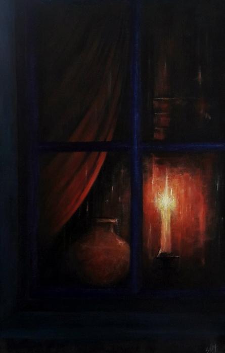 Night Vigil | Painting by artist Seby Augustine | acrylic | Canvas