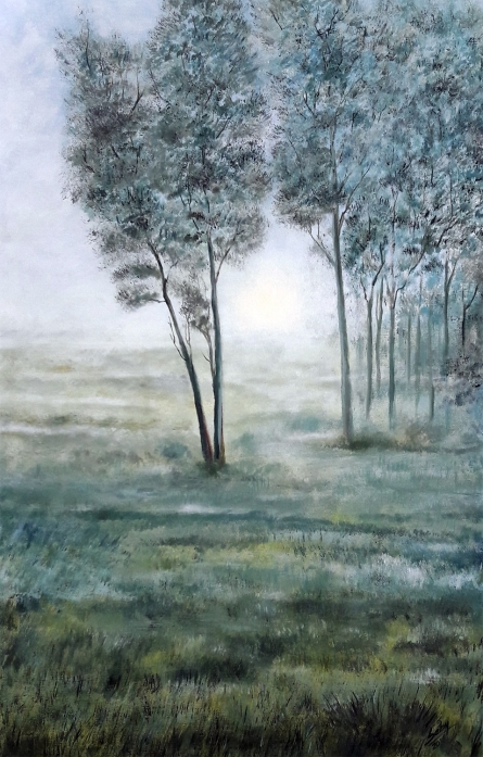 Seby Augustine | Acrylic Painting title Misty Morning on Canvas | Artist Seby Augustine Gallery | ArtZolo.com